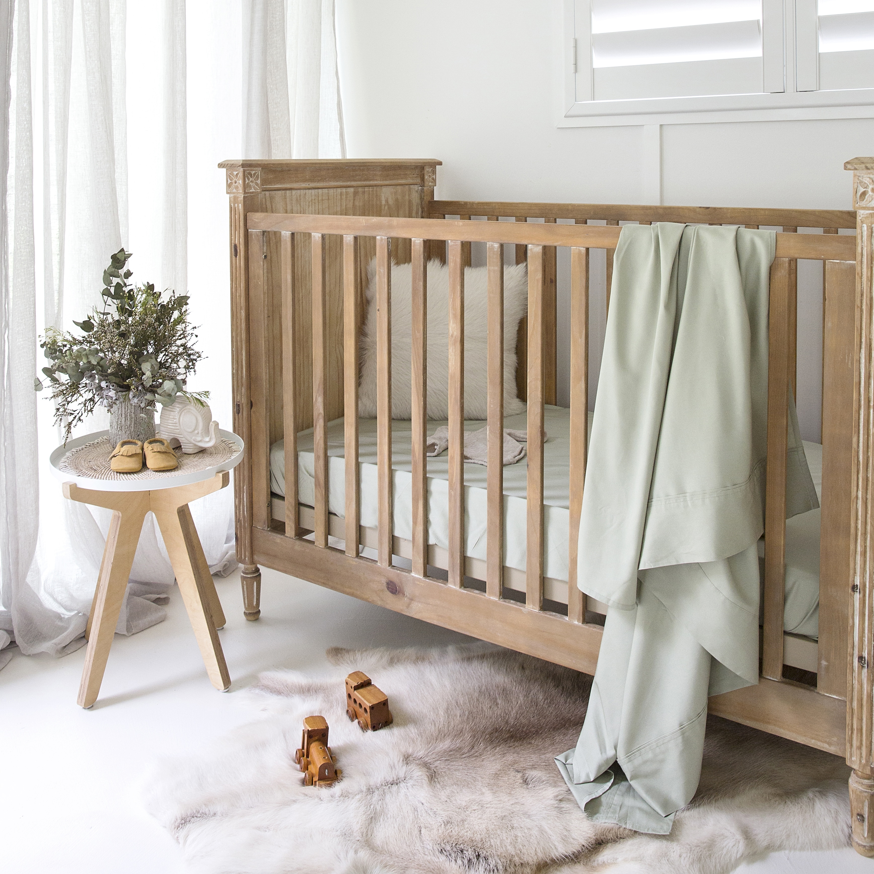 Baby Bamboo Cot Sheet Set Pistachio